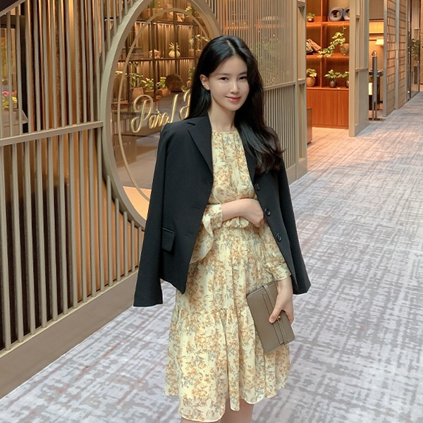 benito-[made] #단 일주일간! #19,100원 할인!  브니엘 셔링 원피스 신상/셔츠/플라워/꽃/미니/셔링/A라인/플레어/베스트/여성/데일리♡韓國女裝連身裙