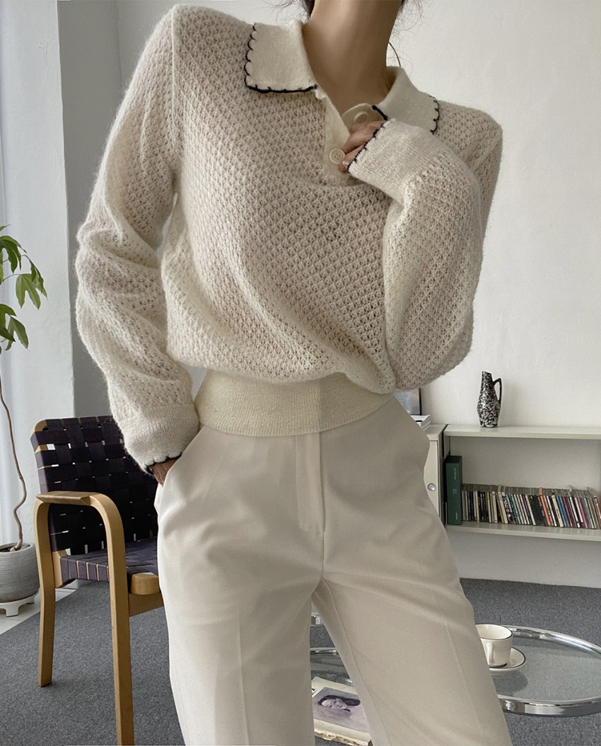 myclassy-mock lace knit *[ivory]♡韓國女裝上衣