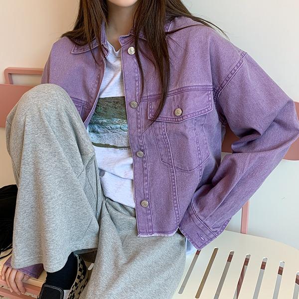 66girls-피그워싱코튼크롭JK♡韓國女裝外套